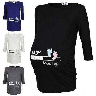 Happy Mama. Woman's Maternity Baby Loading Feet Funny Print T-shirt Top. 549p