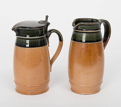 Pair Antique Royal Doulton Lambeth Stoneware Jugs Open & Pewter Lid Topped
