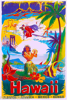 Hawaii Florida Jamaica Mexico United States America Travel Advertisement Poster