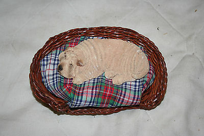 Shar Pei Figurine Sleeping in Bed Dogs Collectiables
