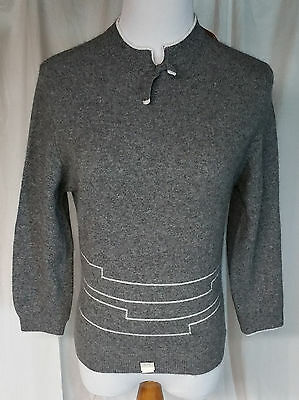 16 Y XL Bernamere by Bernard Altman Wool Sweater Grey White Stripes Vintage New