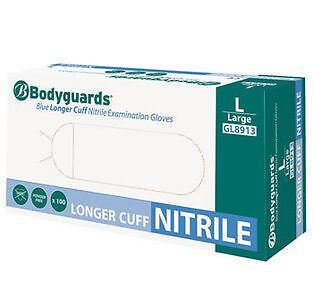 Box 100 Bodyguards GL891 Nitrile Long Cuff 30cm Powder Free Disposable Gloves