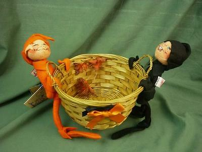 """Annalee Dolls 10"""" Candy Basket Elves w/Bag and Tags 1996 2992 AL22"""