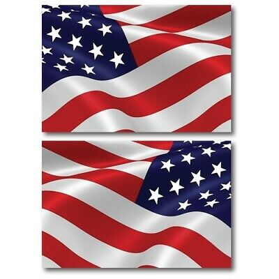 American Flag Magnets 2 Pack Opposing Waving 4x6 inch Decals for Car or Fridge