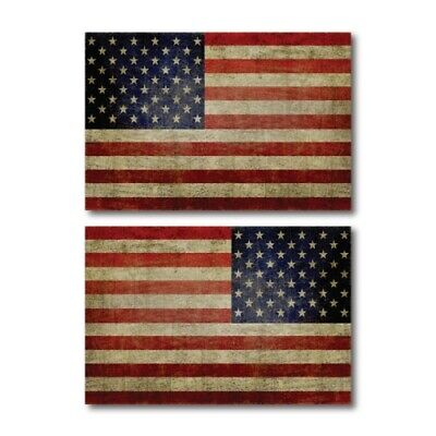 Weathered American Flag Magnets 2 Pack 4x6 inch Opposing Flag Car/Fridge Decals