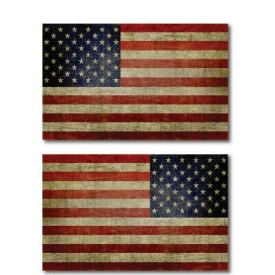 American Flag Magnets Large Size 5x8 inch Opposing Weathered Flag Decals for Car