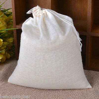 (20) LARGE 8x10 Cotton Muslin Drawstring Bags Bath Tea, Soap, Herb