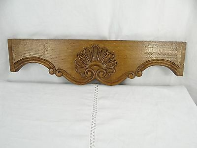 """21"" Antique French Oak Wood Carved Pediment Panel Ornament -  SHELL"