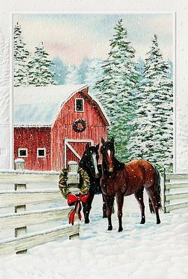 16 Boxed Embossed Christmas Cards Bay & Black Horses Horse Barn Snow