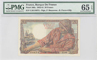1942 France, Banque De France, 20 Francs, PMG 65 EPQ, GEM UNC, P#: 100a