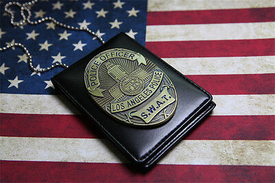 Los Angeles Police SWAT Metal Badges Driver's License With Holder & Chain