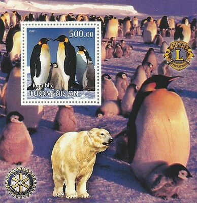 Turkmenistan Sheet Rotary & Lions International - Penguins Polar Bear
