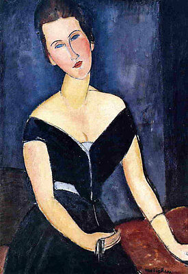 Hand painted Oil painting amedeo modigliani Noble lady Madame Georges van Muyden