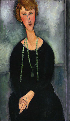 Oil painting amedeo modigliani - Woman with a Green Necklace (Madame Menier) art