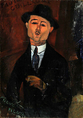 Excellent Oil painting amedeo modigliani - Male portrait Paul Guillaume standing