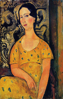 Oil painting amedeo modigliani - Young Woman in a Yellow Dress (Madame Modot)