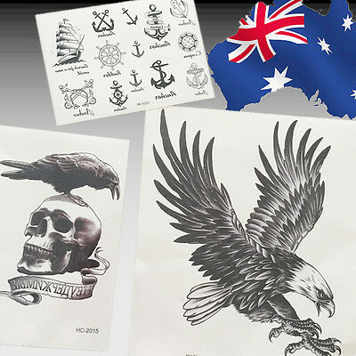 Cool Design Eagle Human Skull Anchor Rudder Temporary Tattoo Sticker JTATO 13