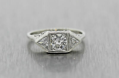 Antique Art Deco 14k White Gold Filigree .57ctw Diamond Engagement Ring