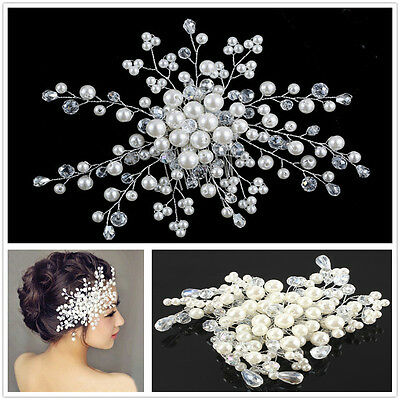 Wedding Bridal Bride Hair Comb Clip Crystal Rhinestone Flower Faux Pearl Hairpin