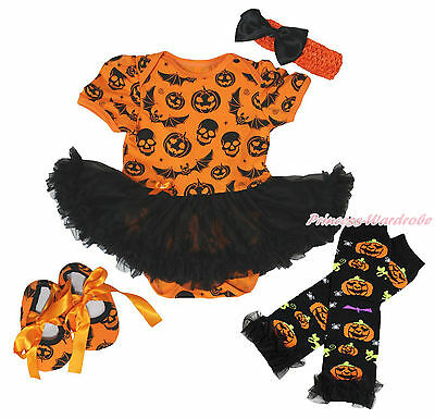 Halloween Skull Bat Pumpkin Bodysuit Girl Baby Dress Shoes Leg Warmer Set NB-18M