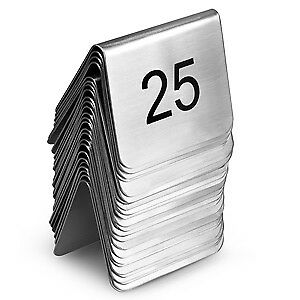 Stainless Steel Table Number Set 1-25 - Restaurant, Party, Wedding Holders