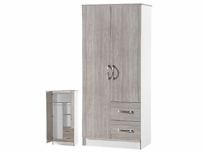Marina High Gloss Grey & White Combi Wardrobe 2 Door 2 Drawer  Bedroom Furniture