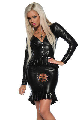 Saresia Wetlook Mistress Kostüm Costume Top und Rock Gothic Clubwear Party Go-Go