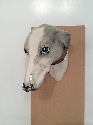 Personalised Elite Pottery Greyhound Head Wall Figurine with COA