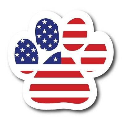 American Flag Paw Print Magnet 5 inch Decal for Car Truck SUV or Fridge