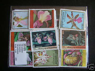 Timbres Fleurs / Orchidees : 150 Timbres Tous Differents / Stamps Flowers Orchid