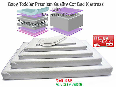 New Baby Cot Bed Sprung Mattress Fully Breathable WATERPROOF Cover All Sizes