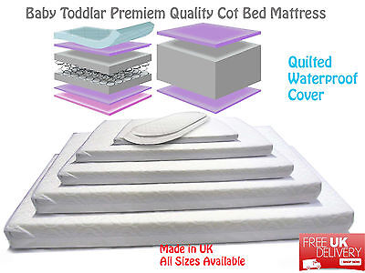 Baby Toddler Cot Bed SPRUNG Mattress Breathable Quilted Mattress Cover