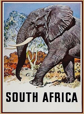 South Africa Vintage African Elephant Travel Advertisement Art Poster