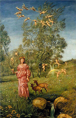 Oil painting Hans Thoma - An allegory of springtime fairy with angels deer art