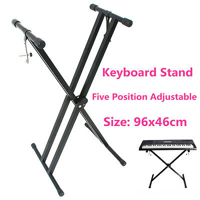 Height Adjustable Folding Keyboard Stand Music Piano Double Braced Type X Black