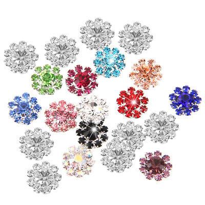 24x Flatback Crystal Rhinestone Diamante Buttons Wedding Craft Scrapbooking DIY