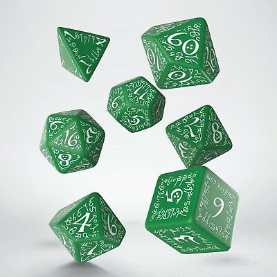 Green & White Elvish dice set by Q-workshop