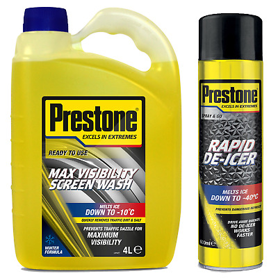 Prestone Ready To Use Pre Mixed Screen Wash 2x4L+Can De-Icer 2x600ML