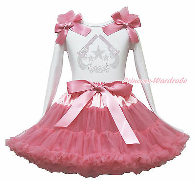 Western Cowgirls Guns Star Top Shirt Dusty Pink Pettiskirt Girls Outfit Set 1-8Y