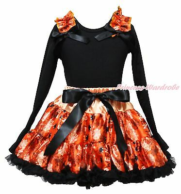 Halloween Black Top Shirt Orange Spider Web Skirt Girl Clothing Outfit Set 1-8Y