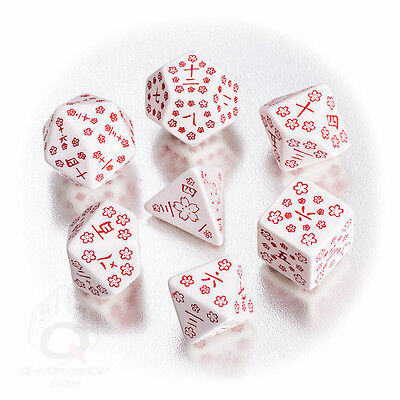 White-red Japanese dice set by Q-workshop
