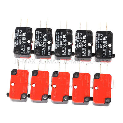 10pcs V-15-1C25 Micro Limit Switch Long Hinge Roller Momentary SPDT Snap Action