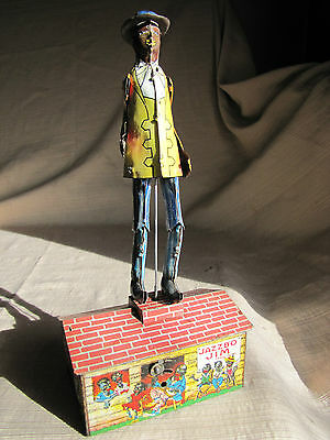 Rare Unique Art Jazzbo Jim Banjo-Dancer on the Roof w/Yellow Jacket-Tin Wind Up