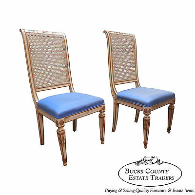 Vintage Pair of French Louis XVI Neo Classical Painted High Back Chairs