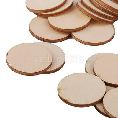 30 Unfinished Wooden Round Circle Disc Embellishments Wedding Art Craft 40mm