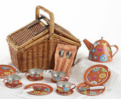 Delton Children's Tin Tea Set for 4 in Wicker Picnic Basket ORANGE BLOSSOMS