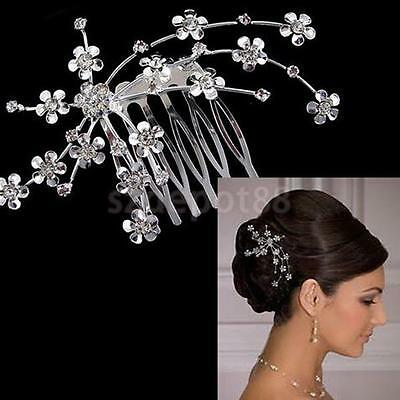 Bridal Bridesmaid Crystal Flower Hair Slide Comb Wedding Tiara Headdress