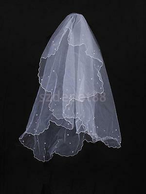 Elegant One Tier Wedding Bridal Veil with Beaded Scalloped Edge Without Comb