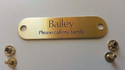 BRASS RIVET PET TAG ID FOR DOG COLLAR NAME ENGRAVED PLATE with RIVET SET