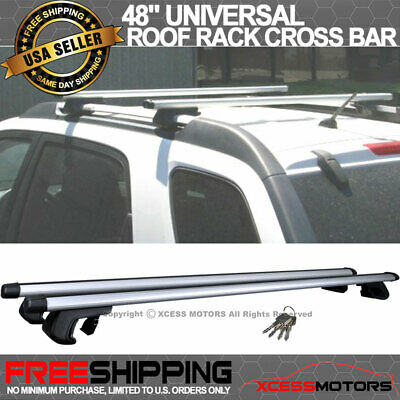 48 Inch Roof Rail Roof Rack Cross Bar Adjustable Clamps Luggage Carrier Aluminum